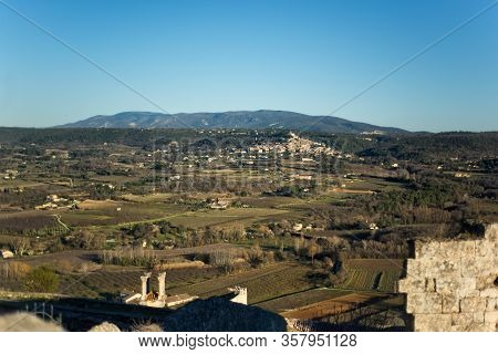 View Of Old Traditional French Small Provencal Village Bonnieux And Luberon Valley In Vaucluse, Prov