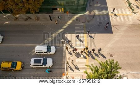 Top View Of Cars Waiting The Pedestrians Crossing Over The Street In City Center In Eskisehir, Turke