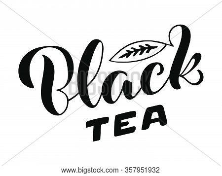Vector Illustration Of Black Tea Brush Lettering For Package, Banner, Flyer, Poster, Bistro, Café, S