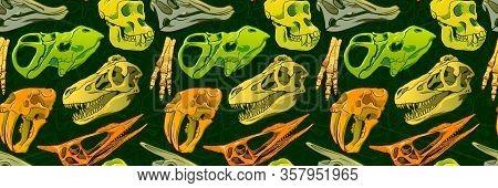 Hand Drawn Seamless Pattern Of Cartoon Dinosaur Skull For Girls, Boys, Clothes. Funny Aleontology Wa