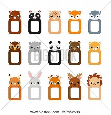 Cute Set Of Animal Frames For Children. Set Of Frames For Photo Or Scrapbook. Flat Vector Stock Illu