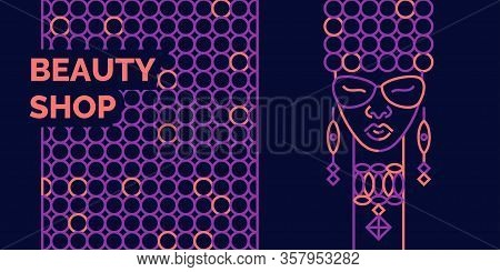 A Girl Of African Appearance Advertises A Fashion Salon. Fashionable Vector Graphics. Banner For A B