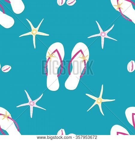 Flip Flop Shoe Seamless Vector Pattern Background. Pretty Sandals, Starfish, Cowrie Shell Backdrop.