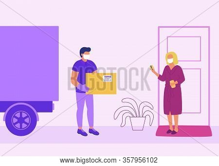 Safe Contactless Delivery Of Goods To Buyer. Cargo Delivery By Car. Man Courier Delivered Parcel Box