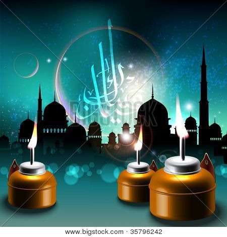 Oil Lamps on Mosque Silhouettes Background Translation of Jawi Text: Eid Mubarak, May you Enjoy a Blessed Festival