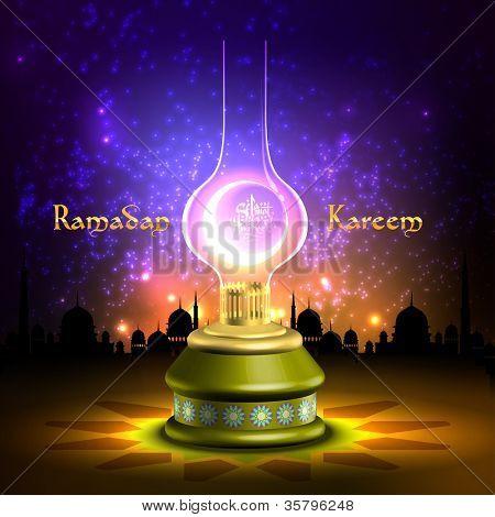 Muslim Oil Lamp - Pelita Translation: Ramadan Kareen - May Generosity Bless You During The Holy Month