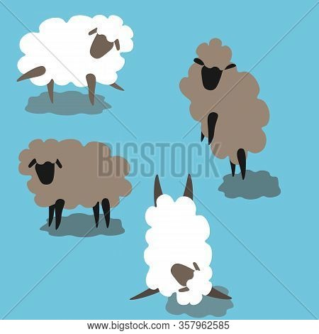 Figurines Of Sheep In Different Positions White And Grey Pattern