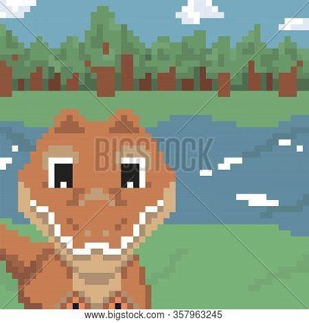 8bit Pixel Sweet Dinosaur T Rex In Nature