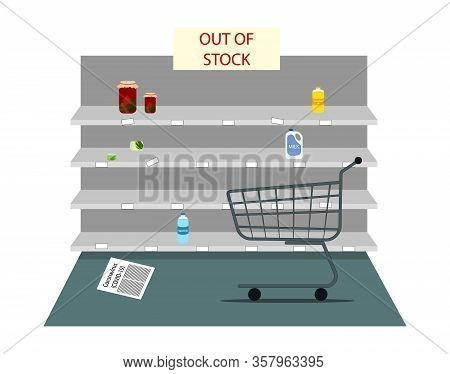 Panic In The Store. Lack Of Products. Covid-19 Concept Flat Vector. Empty Store Shelves And Grocery