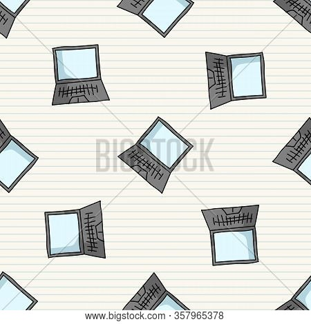 Hand Drawn Cartoon Scattered Laptop For Working At Home Seamless Vector Pattern. Office Internet Job