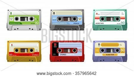 Set Of Retro Audio Cassettes, Pop Art Style. Vintage Tape Cassette. Retro Mixtape, 1980s Pop Songs T