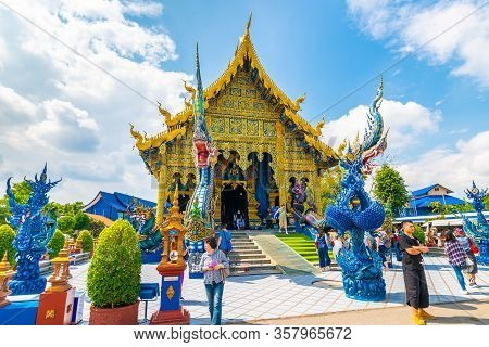 Chiang Rai, Thailand - 6.11.2019: The Blue Temple (wat Rong Suea Ten) In Chiang Rai City. Tourist Ar