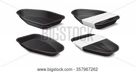 Food Plastic Black Tray With White Label. Side View. Styrofoam Food Storage. Dark Foam Meal Containe