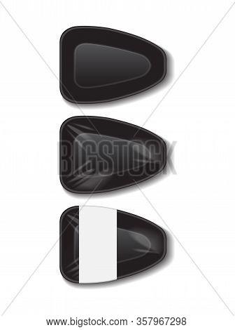 Food Plastic Black Tray With White Label. Styrofoam Food Storage. Dark Foam Meal Container, Empty Bo