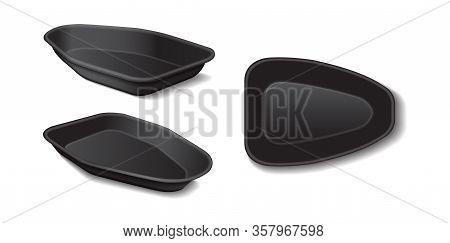 Styrofoam Food Storage. Food Plastic Black Tray, Dark Foam Meal Container, Empty Box Set For Food