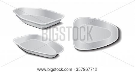 Styrofoam Food Storage. Food Plastic White Tray, Foam Meal Container, Empty Box For Food