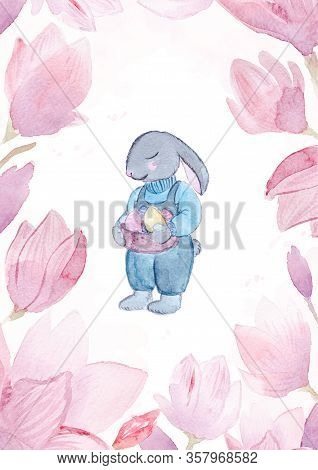Watercolor Hand Drawn Easter Bunny With Eggs And Flower Wreath Isolated On White Background.