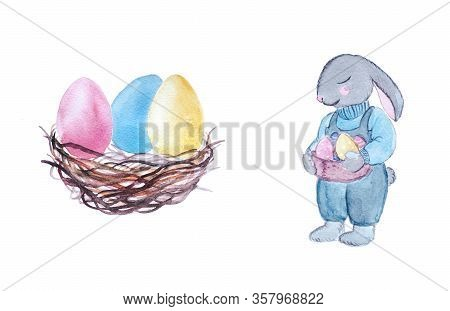 Colorful Painted Eggs In A Wooden Nest And Bunny With Holiday Basket. Easter Watercolor Illustration