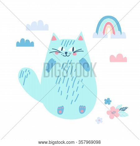 Illustration Of A Blue Sly Happy Cat With A Rainbow, Flowers And Clouds.