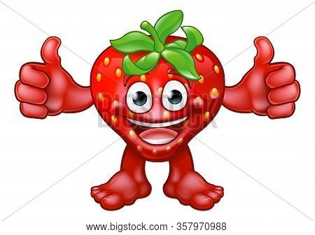 A Cartoon Fruit Strawberry Mascot Character Giving A Thumbs Up