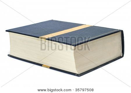 closeup of a thick book on a white background