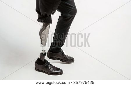 Disabled Young Man With Prosthetic Leg, Artificial Limb Concept