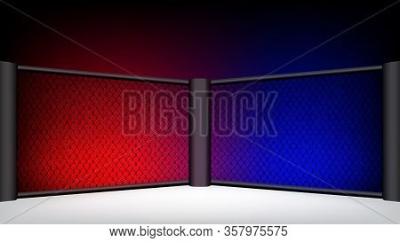 Boxing Ring Area, Boxing Ring In Net Fence, Mma Boxing Floor For Fight, Boxing Stage Gym Empty For C
