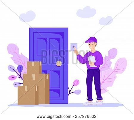 Smiling Courier Rings The Door Of The House. Express Delivery Of Packages, Goods To The Home. Parcel