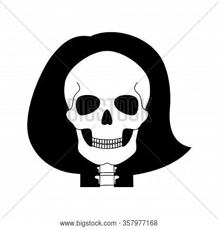 Woman Skull Anatomy. Flat Vector Medical Illustration Isolated. Structure Of Facial Skeleton With Ma