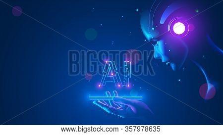 Cyborg Woman Look At Logo Ai Hanging Over Phone. Abbreviation Ai Consists Pcb Elements. Artificial I