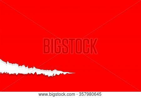 Paper Red With Tear Marks For Banner Copy Space, Paper Rip Torn Red Square Background, Red Paper Wit