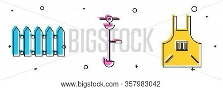 Set Garden Fence Wooden, Grass And Weed Electric String Trimmer And Kitchen Apron Icon. Vector