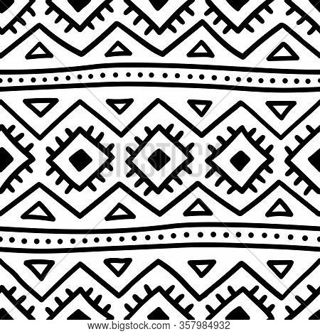 Seamless Ethnic Pattern. Handmade. Horizontal Stripes. Black And White Cute Print For Your Textiles.