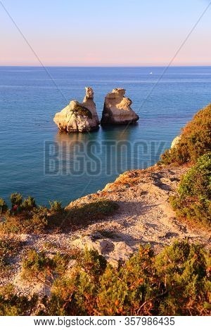 Salento Coast Landscape In Italy. Torre Dell'orso In Apulia Region.