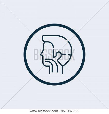 Sore Throat Vector Icon. Silhouette Symbol. Glands, Tonsils, Pharynx Inflammation. Pharyngitis. Thro