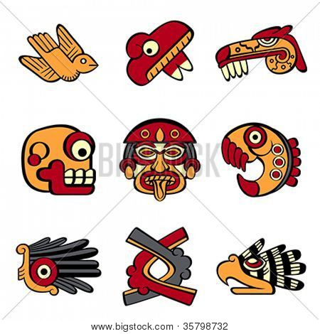 Aztec animal and abstract symbols