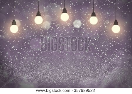 Pink Cute Glossy Abstract Background Light Bulbs With Sparks Fly Defocused Bokeh - Celebratory Mocku