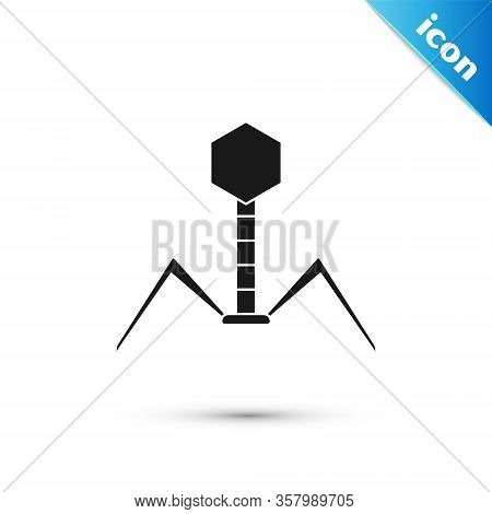 Grey Bacteria Bacteriophage Icon Isolated On White Background. Bacterial Infection Sign. Microscopic