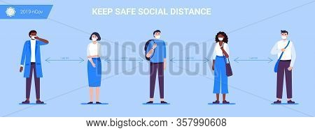 Social Distancing. People Keep A Distance For Infection And Disease, Wearing A Surgical Protective M