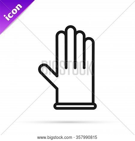 Black Line Medical Rubber Gloves Icon Isolated On White Background. Protective Rubber Gloves. Vector