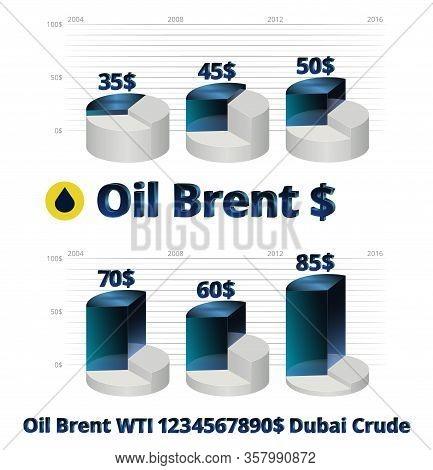Stock Vector Illustration Brent Crude Oil Prices Infographics Wti Dubai Crude