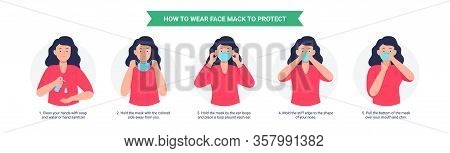 How To Wear A Mask. Woman Presenting The Correct Method Of Wearing A Mask, To Reduce The Spread Of G
