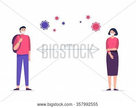 Social Distancing, Keep Distance In Public Society People To Protect From Covid-19 Coronavirus. Man