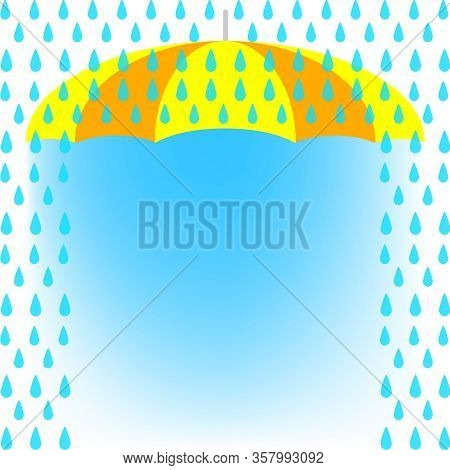 Banner Frame Rain Fall And Umbrella Background, Banner Rainy Season For Advertising Sale Off, Monsoo