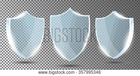 Glass Shields Set On Transparent Background In Front And Side View. Acrylic Security Shield Or Plexi