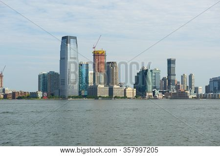 Jersey City Modern Skyscrapers Skyline Including From New York Harbor Near New York City Nyc, New Je