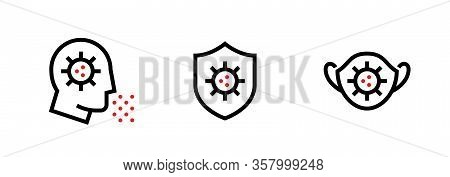 Set Of Virus Transmission And Anti-bacterial Protection Icons. Editable Line Vector.