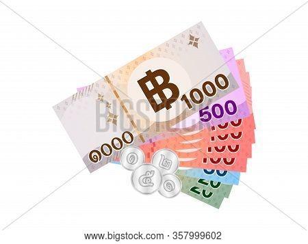 Thai Banknote Money 1999 Baht Isolated On White, Thai Currency One Thousand Nine Hundred Ninety Nine