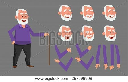 Old Man Character With Various Facial Emotions. Character For Custom Animation. Custom Character Set