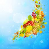 Autumn background with colorful leaves on blue and place for text. Check my portfolio for vector version. poster